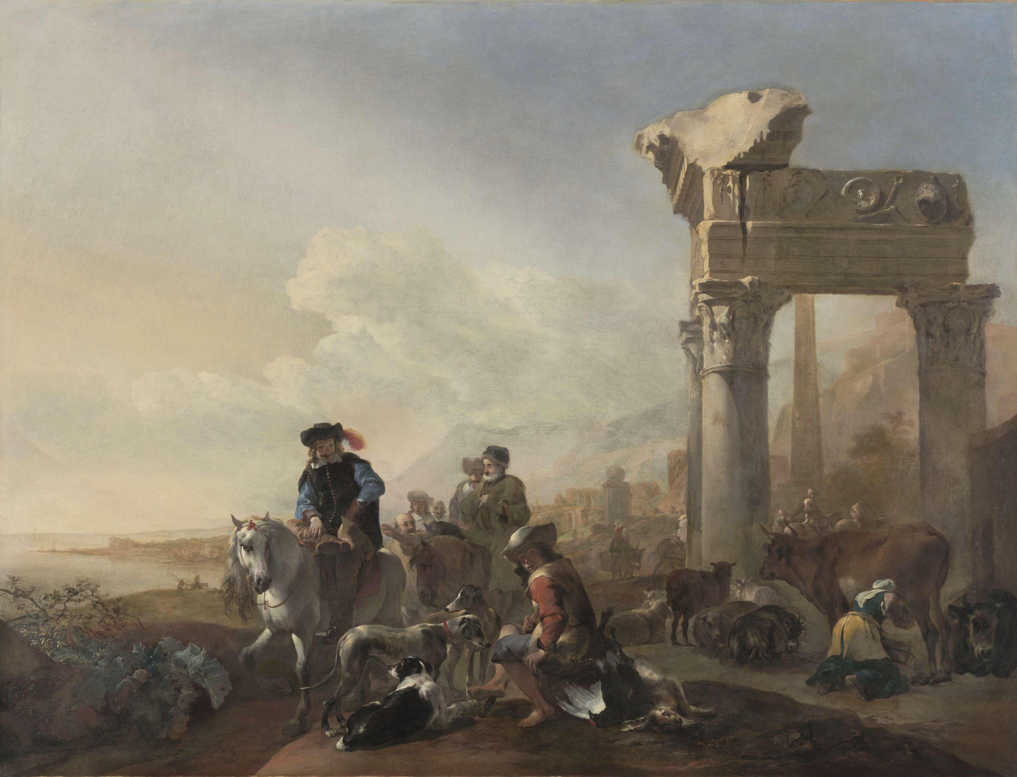 Κυνηγοί δίπλα σε αρχαία ερείπια. Hunters Near Ruins. 1648. Jan Baptist Weenix. (Dutch, 1621-1660). Μουσείο Τέχνης του Κλίβελαντ.