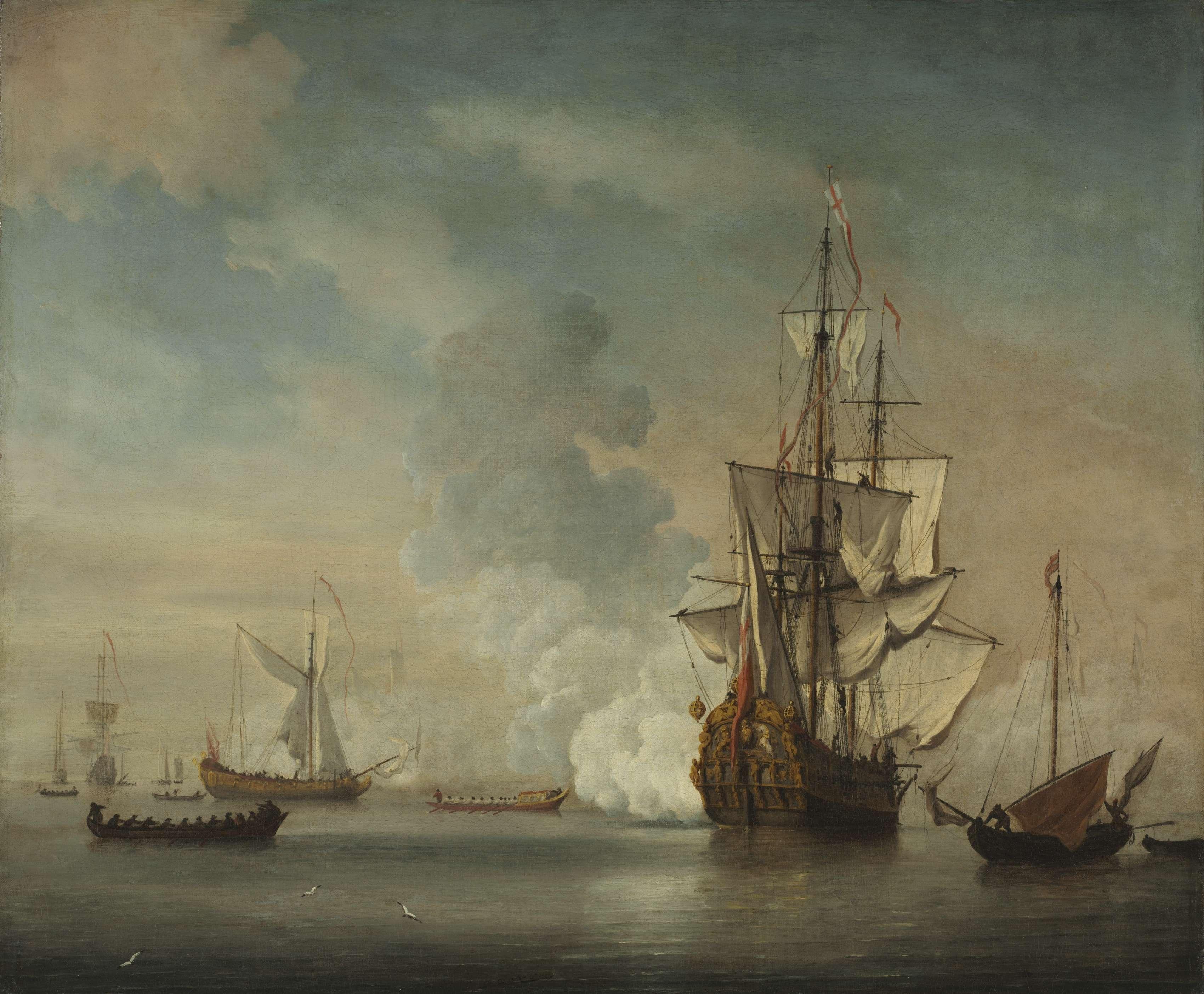 Αγγλικά πλοία. English Warship Firing a Salute. 1690. Netherlands, 17th century. Μουσείο Τέχνης του Κλίβελαντ.