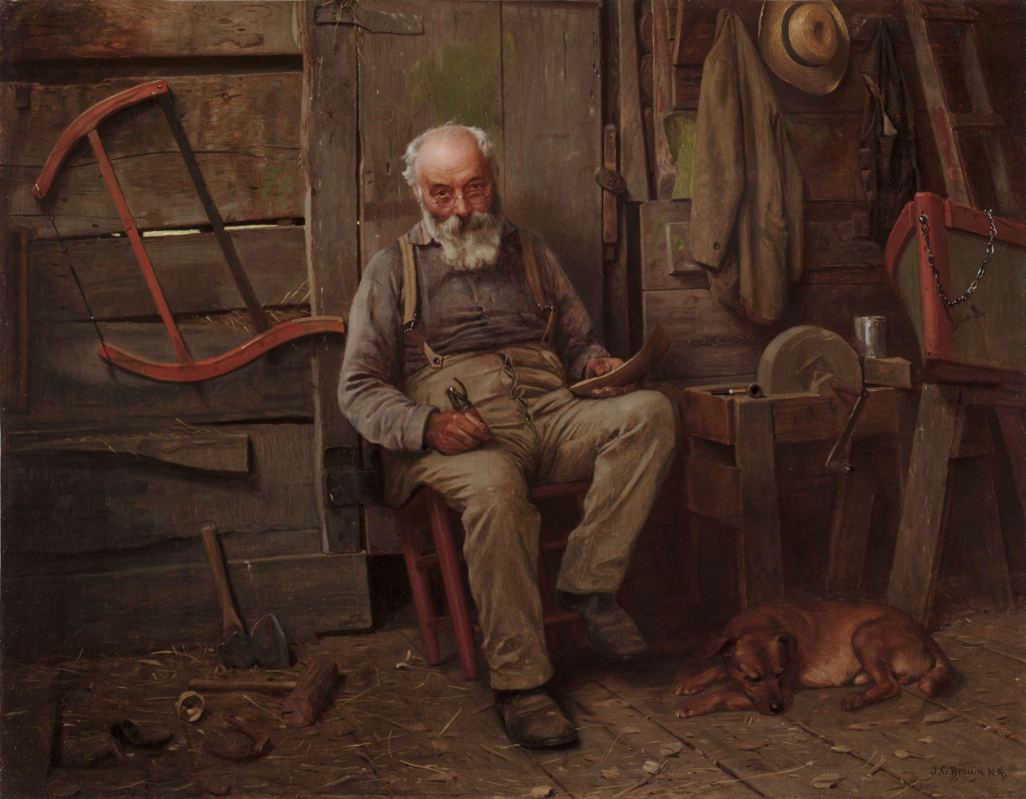 Καραβομαραγκός. Τεχνίτης που κατασκευάζει ξύλινα πλεούμενα. Boat Builder. c. 1904. John George Brown. (American, 1831-1913). Μουσείο Τέχνης του Κλίβελαντ.