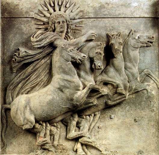 Στην Ελληνική μυθολογία ο Ήλιος ήταν προσωποποιημένος ως θεότητα, τον οποίο ο Όμηρος αντιστοιχεί στον ηλιακό Τιτάνα Υπερίωνα. Άλλες πηγές αναφέρουν πως ο Ήλιος είναι γιος του Υπερίωνα από την αδελφή του Θεία.