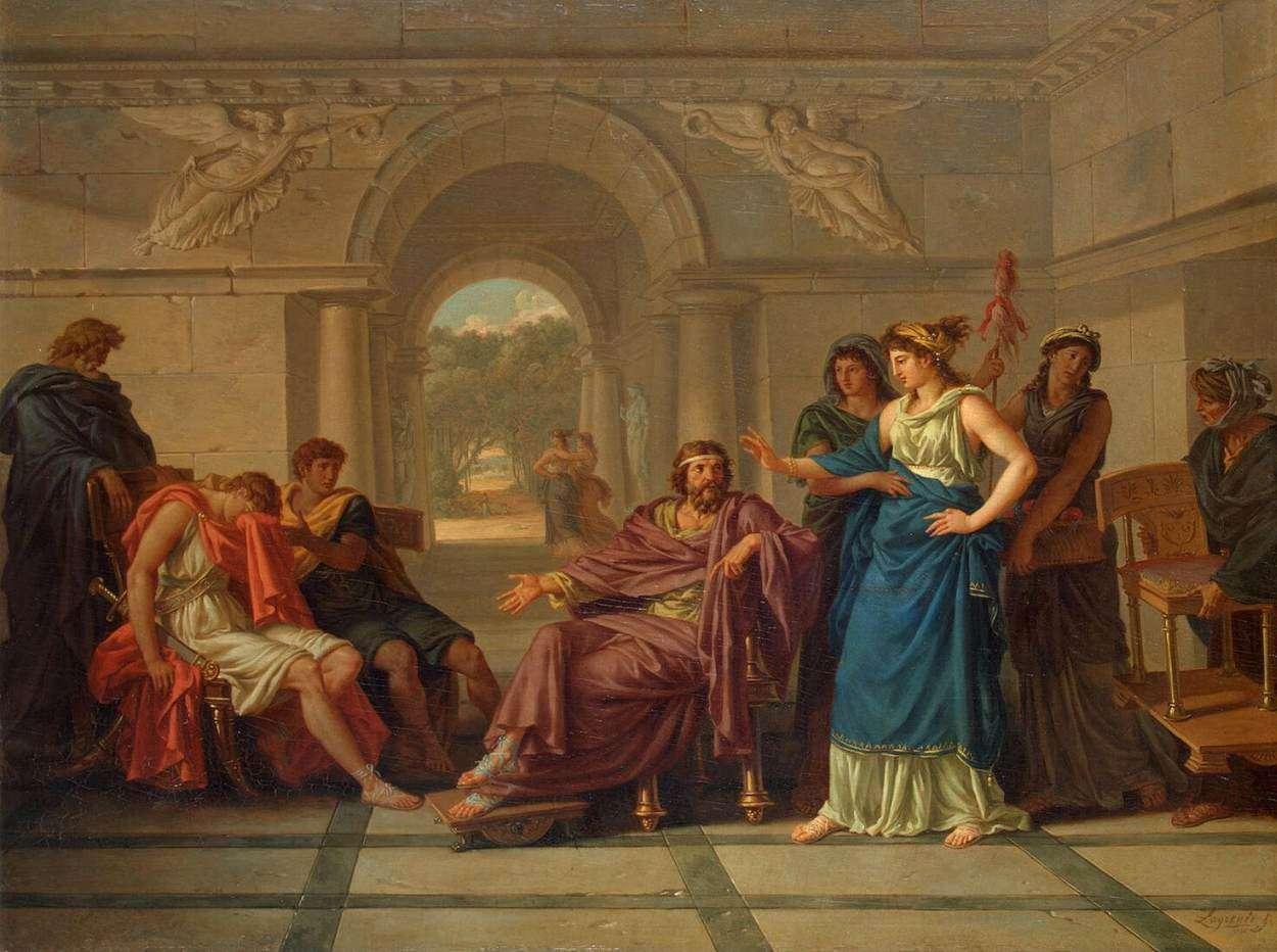 Η Ελένη αναγνωρίζει τον Τηλέμαχο. Jean-Jacques Lagrenée (18 September 1739 in Paris – 13 February 1821 in Paris)