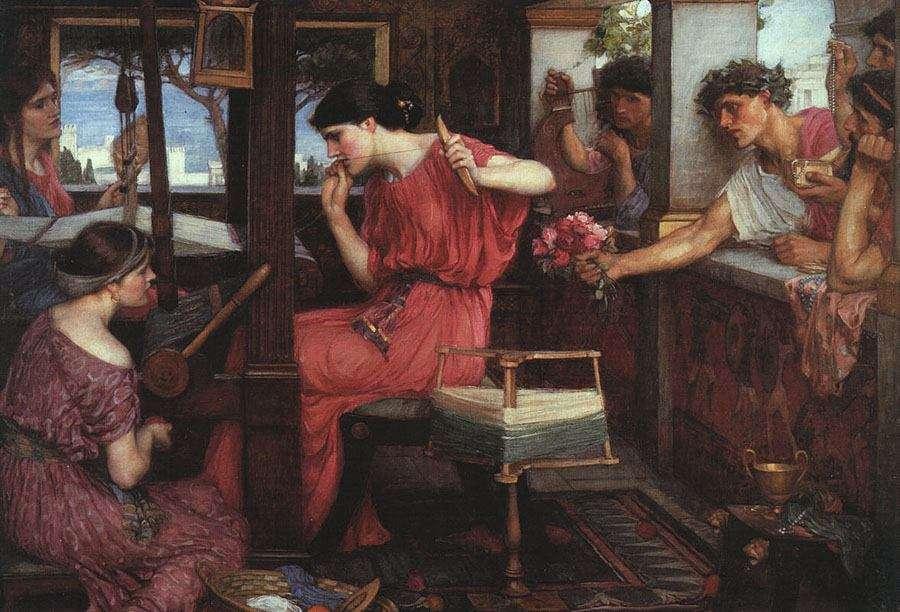 Η Πηνελόπη και οι μνηστήρες από τον John William Waterhouse το 1912.