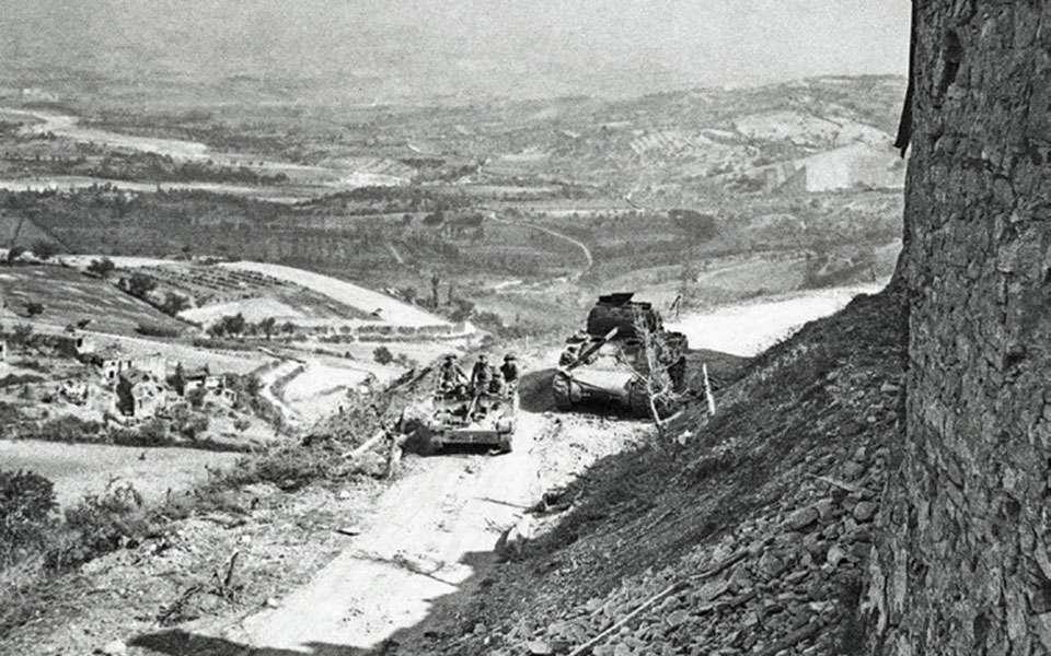 Το πεδίο των πολεμικών επιχειρήσεων στη «Γοτθική» γραμμή άμυνας των Γερμανών κοντά στην περιοχή του Ρίμινι.