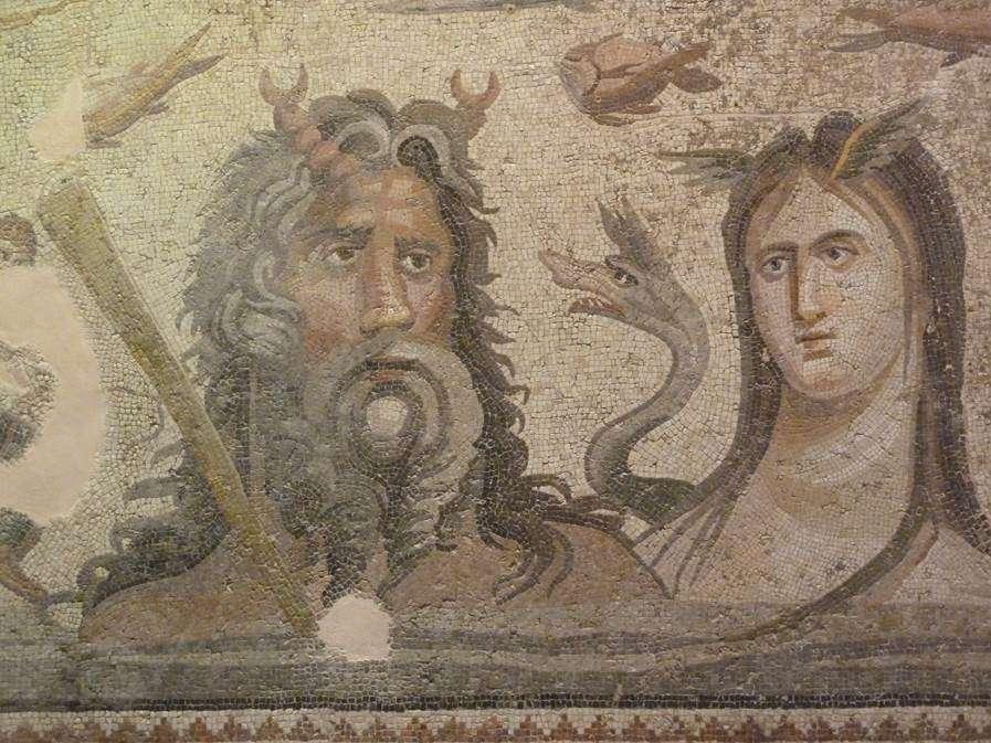 Ζεύγμα. Ωκεανός και Τηθύς. Θησαυρός της παγκόσμιας πολιτιστικής κληρονομιάς. Mosaic (3rd ce. AD) of Oceanus and Tethys, Sea deities from the Greek mythology found at the House of Oceanus, Zeugma, SE Asia Minor, present – day Turkey.