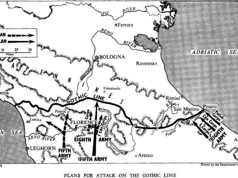 Η «Γοτθική Γραμμή» που εκτεινόταν από την Πίζα έως το Ρίμινι στην Αδριατική, με συνολικό ανάπτυγμα περίπου 350 χιλιομέτρων, ήταν ενισχυμένη με αντιαρματικά έργα, ναρκοπέδια και χαρακώματα, ενώ την υπεράσπισή της είχε αναλάβει ο στρατηγός Αλμπερτ Κέσερλινγκ με δύο στρατιές συνολικής δύναμης είκοσι οκτώ μεραρχιών.