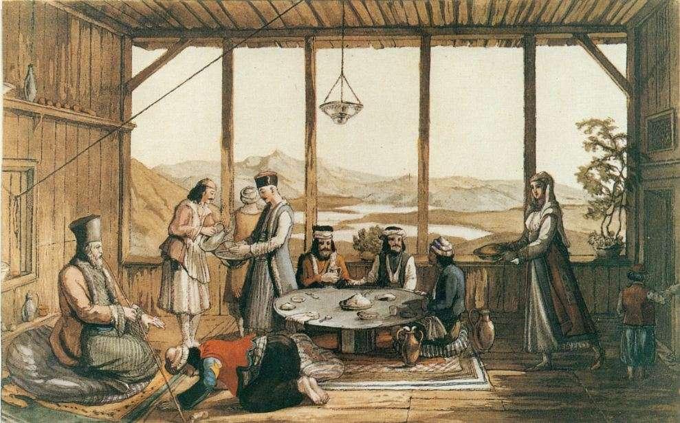 Επίσημο γεύμα στο σπίτι Έλληνα άρχοντα στο Χρυσό. Έγχρωμη χαλκογραφία του Edward Dodwell (1821).