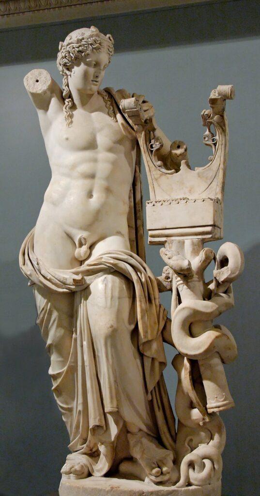 Ο «κιθαρίστας»· ρωμαϊκό έργο του 2ου αιώνα μ.Χ., με την επίδραση της ελληνιστικής γλυπτικής· από τον Ναό του Απόλλωνα στην Κυρήνη. Βρετανικό Μουσείο.