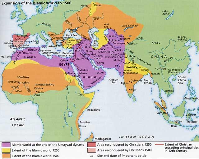 Άλλωστε, μια ματιά στον χάρτη της ισλαμικής επέκτασης από το 622 μ.Χ. μέχρι το 1500 μ.Χ. αρκεί για να τεθούν κάποια ερωτήματα που οι απολογητές του Προφήτη είτε αρνούνται ν΄ απαντήσουν είτε τα αποσιωπούν.