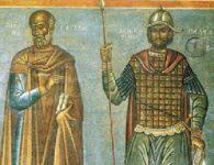 «Μιχαήλ Ψελλός, Κωνσταντίνος Παλαιολόγος». Τμήμα της τοιχογραφίας του Φώτη Κόντογλου στο Δημαρχείο Αθηνών.