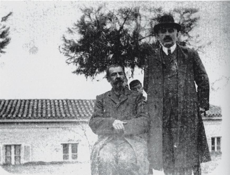 Ο Παπαδιαμάντης με το φίλο του Γιάννη Βλαχογιάννη στη Δεξαμενή το 1908.