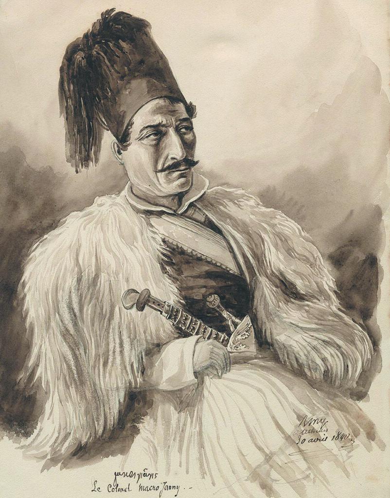 Ο Μακρυγιάννης. Σκίτσο του Μπενζαμέν Μαρί.