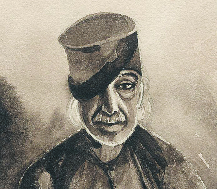 O μονόφθαλμος Κουντουριώτης. Σκίτσο του Μπενζαμέν Μαρί.
