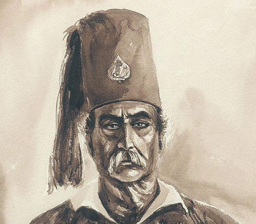 O Θεόδωρος Κολοκοτρώνης. Σκίτσο του Μπενζαμέν Μαρί.