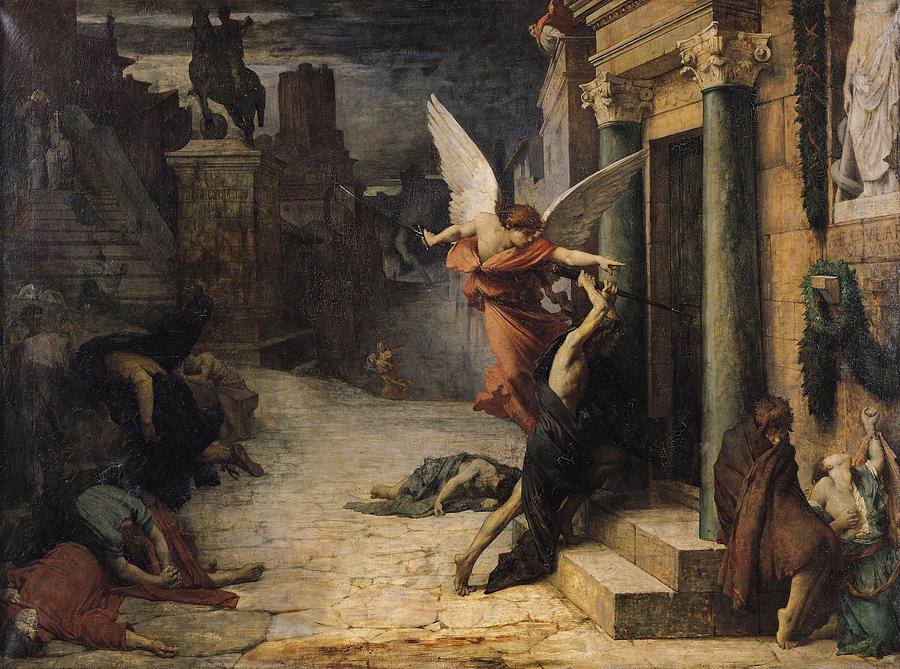 """Jules Elie Delaunay, """"The Plague In Rome"""", 1869, Oil On Canvas."""