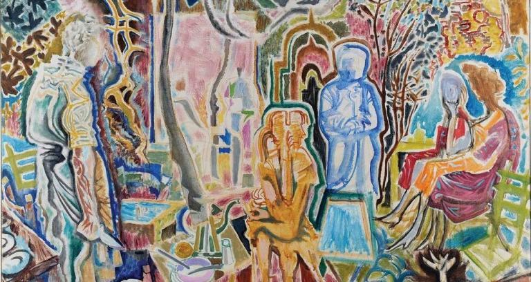Νίκος Χατζηκυριάκος-Γκίκας, «Βραδινές αναπολήσεις», 1959. Εθνική Πινακοθήκη
