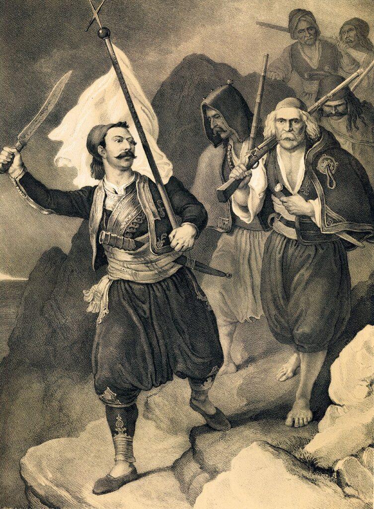 Ο Πετρόμπεης Μαυρομιχάλης, πρόκριτος της Μάνης, κηρύσσει την Επανάσταση στη Μεσσηνία. Λιθογραφία του Peter von Hess, 1852 (λεπτομέρεια – Εθνικό Ιστορικό Μουσείο, Αθήνα).