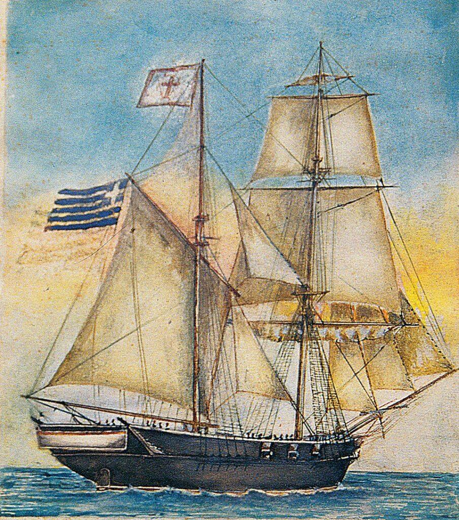 Η βρικογολέτα «Ασπασία». Ανήκε στους Κούτσηδες, μία από τις σπουδαιότερες σπετσιώτικες οικογένειες (αρχείο Γ. Σταματίου).