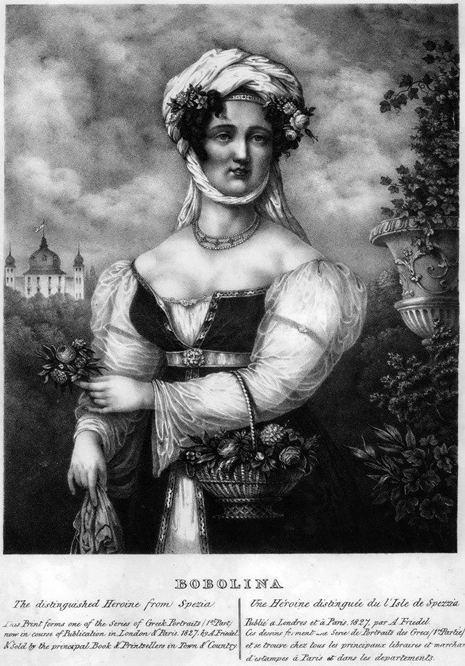 Bobolina: Η πλούσια στα ελέη Ελληνίδα καπετάνισσα ανεβάζει στο κόκκινο τον υδράργυρο των αρσενικών φαντασιώσεων της χριστιανοσύνης, μολονότι εξάπτει και σκανδαλίζει εκ του μη όντος (δεν ήταν παρά ένα πορτρέτο σεξιστικής φαντασίας). Έργο του Adam Friedel (1827).