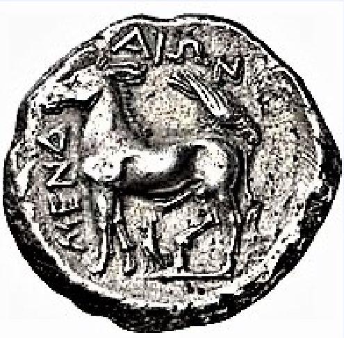 Γάιδαρος σε αρχαίο ασημένιο νόμισμα.