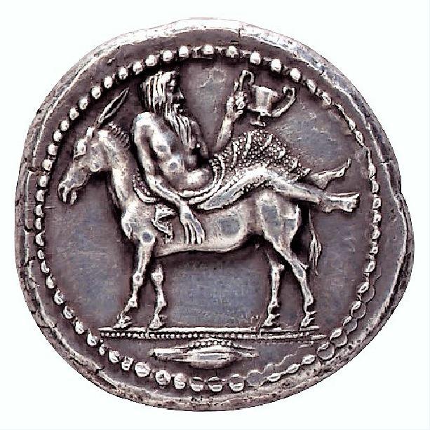 Γάιδαρος σε αρχαίο νόμισμα.