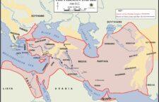 Η αυτοκρατορία των Περσών στα 490 π.Χ. Η πορεία των Μυρίων. Πηγή: Βικιπαίδεια.