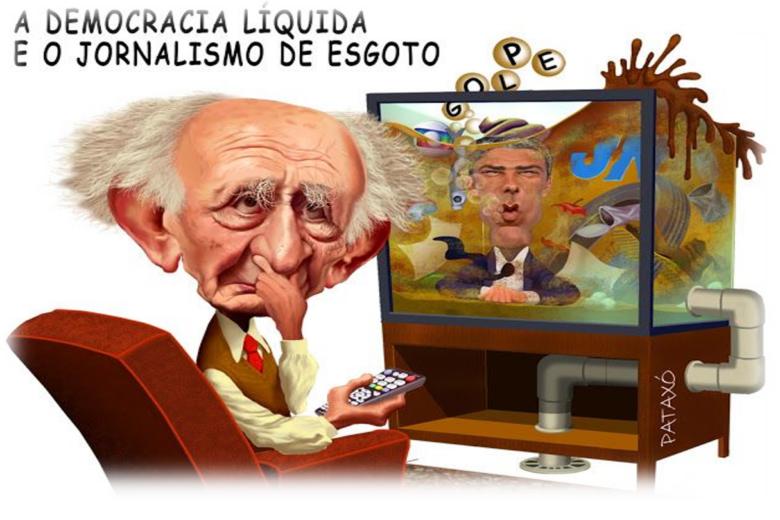 Σκίτσο του Μπάουμαν. «Δημοκρατία ρευστότητας, δημοσιογραφία υπονόμου».