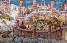 Η πολιορκία της Κωνσταντινούπολης από Αβάρους & Πέρσες το 626 μ.Χ. Τοιχογραφία. Moldovita, Bucovina, Ρουμανία, 1537.