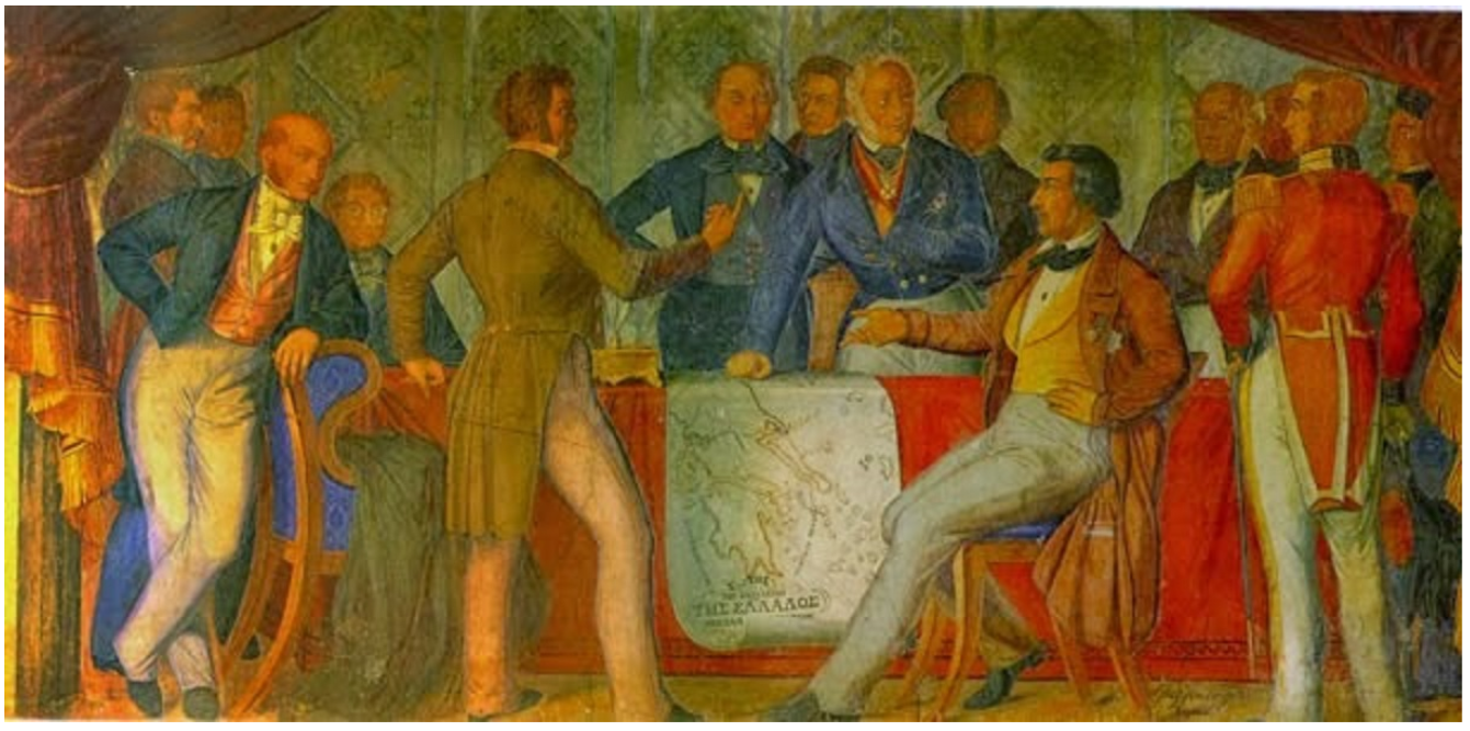 Ο πίνακας απεικονίζει στιγμιότυπο από την υπογραφή της Ιουλιανής Σύμβασης.
