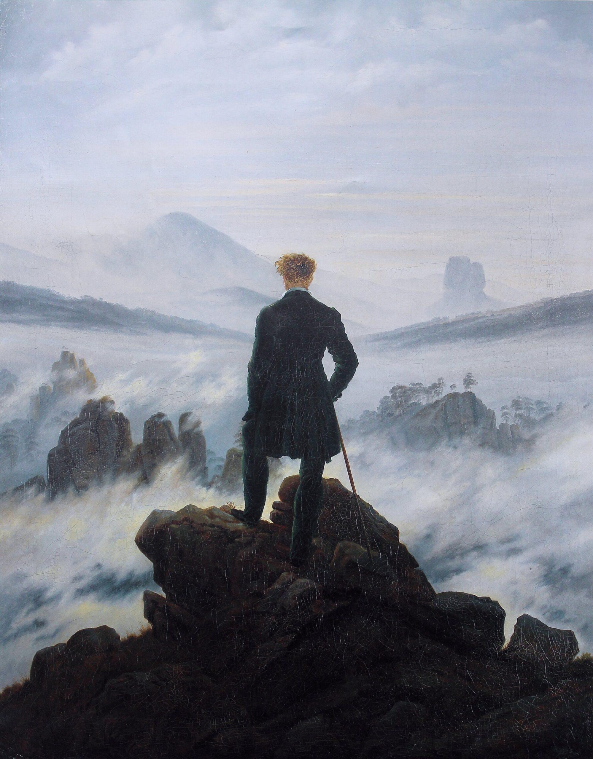 Caspar David Friedrich – Περιπλανώμενος πάνω από τη θάλασσα της ομίχλης (1818). Η Φύση των ρομαντικών υπήρξε άγρια, ατίθαση, απρόβλεπτη. Όπως τα κύματα ομίχλης στον πίνακα του Φρήντριχ, που συμβολίζουν το ανεξερεύνητο, το αχανές, το ταραχώδες παρελθόν και το άγνωστο μέλλον. Η αναζωπύρωση του ενδιαφέροντος για τις φιλοσοφίες του Ρομαντισμού της Μετανεωτερικότητας επιδίωξε το θάνατο του Ορθού Λόγου.