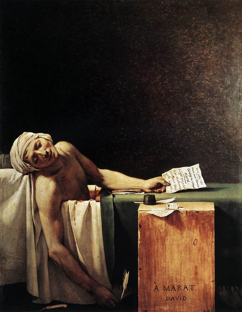 Jacques – Louis David, Ο θάνατος του Μαρά (1793). Κατά την περίοδο του Διαφωτισμού ο άνθρωπος έγινε πρωταγωνιστής. Ακόμα και στις τέχνες ήταν το επίκεντρο. Ο Μαρά δεν ήταν κάποιος άγιος, αλλά ένας από τους αρχηγούς της Γαλλικής Επανάστασης που δολοφονήθηκε στο λουτρό του.