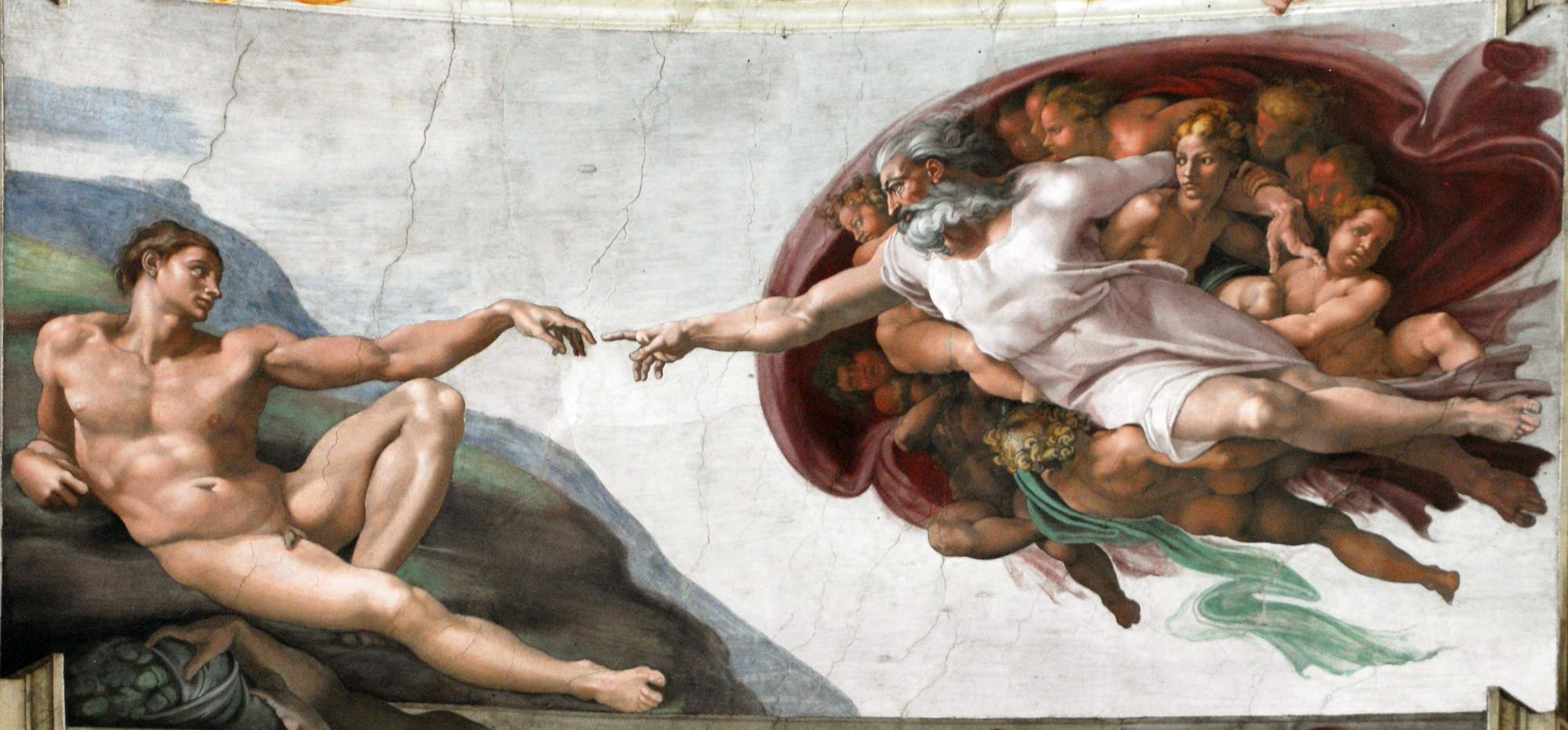 Μιχαήλ Άγγελος, Η δημιουργία του Αδάμ (1508-1512). Ενώ στο Μεσαίωνα ο άνθρωπος ήταν υποταγμένος στο Θεό, τη Θρησκεία, τον Πάπα, τον Βασιλιά ή τον εκάστοτε Ηγεμόνα, κατά την Αναγέννηση άρχισε να αποκτά αξία. Η απεικόνιση της δημιουργίας του ανθρώπου, η στιγμή τηςεμφύσησης της ζωής μέσα του, τα δάχτυλα που σχεδόν αγγίζουν τον δημιουργό, αποτελούν χαρακτηριστικό παράδειγμα.