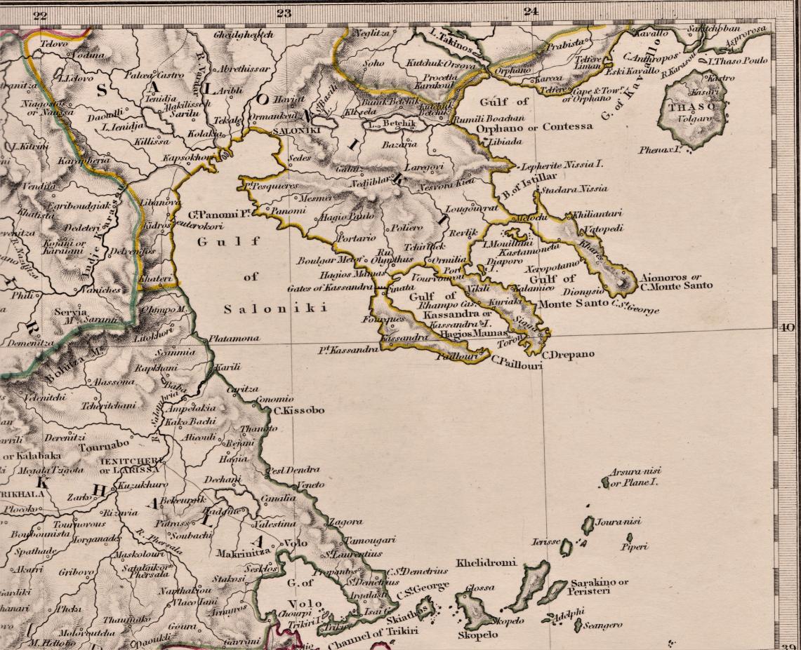 Αγγλικός χάρτης της Χαλκιδικής· σχεδιάστηκε από τους Baldwin & Cradock και εκδόθηκε στο Λονδίνο το 1829.